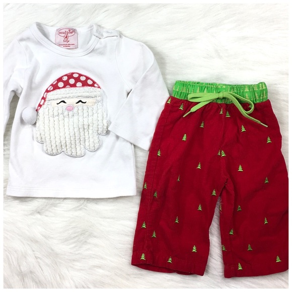 NEW MUD PIE HOLIDAY TWO PIECE OUTFIT WHITE 3 RED AND GREEN APPLIQUE SZ 5 -